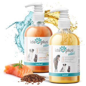 Ida Plus – Lachsöl & Leinöl Set für Pferde, Hunde und Katzen 2x 500 ml – mit ungesättigten Fettsäuren Omega 3, 6 & 9 & Vitamin D - kaltgepresst – BARF – optimal im Fellwechsel