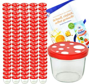100er Set Sturzglas 230 ml To 82 Fliegenpilz Deckel rot weiß gepunktet incl. Diamant Rezeptheft