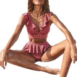 Summer V Neck High Waist Rueschen Bikini Set Zweiteiliger Damen Badeanzug Bademode Rose Red L.