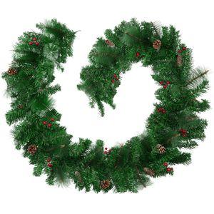 tectake Weihnachtsgirlande mit Tannenzapfen - rot/grün
