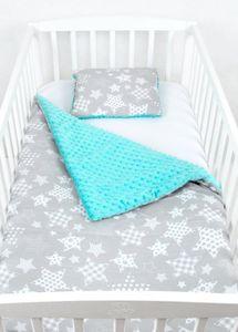 BABYLUX Babydecke Krabbeldecke MINKY Decke 75x100 cm mit Kissen 1K. Minze + Ster