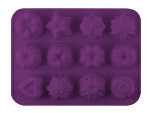 "Dr. Oetker Silikon-Backform 12er ""Mini-Kreationen"", Backform aus hochwertigen Platinsilikon, hochwertige Antihaft-Eigenschaften, (Farbe: lila), Menge: 1 Stück"