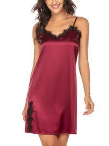 Damen Sexy Satin Seide Nachthemd Weiche Spitze Dessous Nachtwäsche Wickelkleid Robe,Farbe:Rot,Größe:XXL