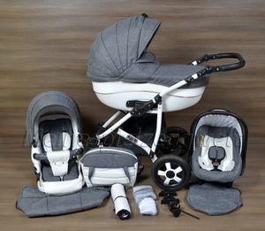 LUXUS Kombi Kinderwagen  3 in 1 Komplettset - grau/weiß mit Kunstlederelementen R4 Gestell weiß
