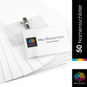 OfficeTree® 50 x Premium Kunststoff Namensschilder mit Halterclip und Nadel