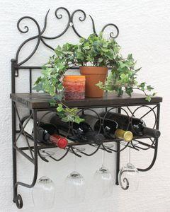 DanDiBo Weinregal Metall mit Glashalter Vintage Flaschenregal Holz Wand HX12982 Flaschenhalter Wandregal