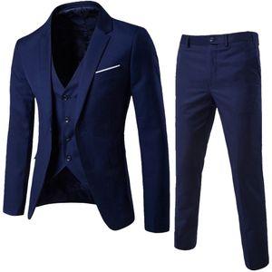 Herrenanzug Schlanker 3-teiliger Anzug für Business Wedding Party Jacke Weste & Hose Größe:L,Farbe:Navy