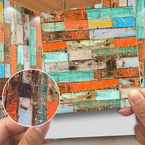 20 Stück moderne glänzende Fliesen Wandaufkleber selbstklebend Wohnkultur,Farbe: 10# Bunter Ziegelstein,Größe:10x10cm