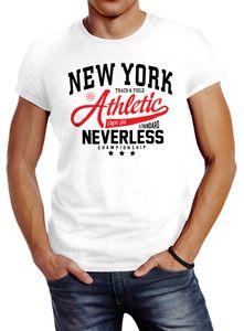 Herren T-Shirt New York Athletic Slim Fit Neverless® weiß 4XL
