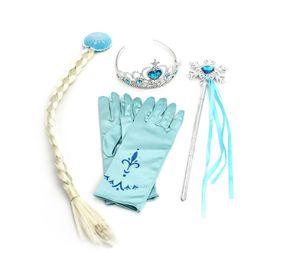 Eiskönigin Kinder Kostüm Set | Krone, Handschuhe, Zauberstab, Zopf | Elsa