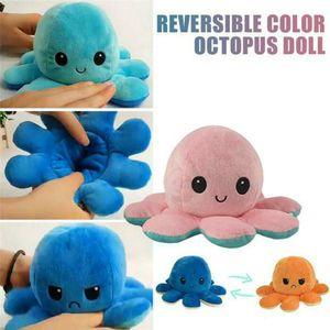 4 Stück Double-Sided Flip reversible Octopus Plüschtier Marine Life Kuscheltiere Puppe