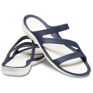 Crocs Damen-Sport-Freizeit-Pantolett-Schuhe Women's Swiftwater Sandal blau-weiss, Größe:37-38