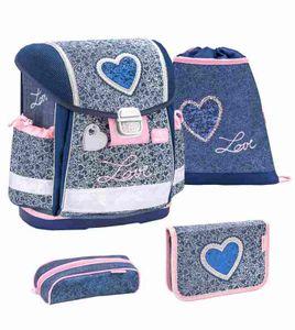 Belmil Schulranzen Set Classy 4-tlg Erstklässler Einschulung Mädchen Love Herzen blau rosa