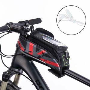 ROCKBROS Fahrrad Rahmentaschen Wasserfest Oberrohrtasche Mit Handytasche Für Bild Schirm 6.0'' Schnell zu Montieren Und Einfach abzunehmen Rot