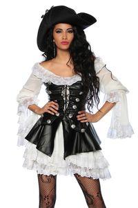 Atixo Piratenkostüm - schwarz/weiß, Größe:S-M