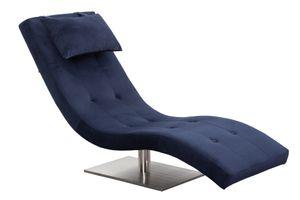 SalesFever Relaxliege mit Nackenkissen | Stoffbezug in Samt-Optik | Gestell Edelstahl | B 60 x T 170 x H 82 cm | blau