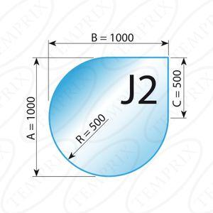 Kaminbodenplatte Transparent Form J2  1000 x 1000 x 6mm - (Tragkraft bis 700 Kg)