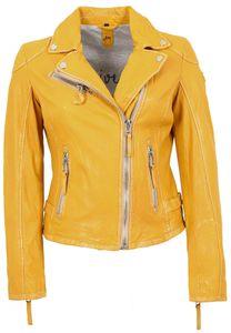 Gipsy - Damen Lederjacke Bikerjacke Lammnappa gelb : M