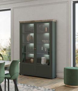 Vitrine Vitrinenschrank Glasvitrine 126cm grün eiche lefkas Landhaus