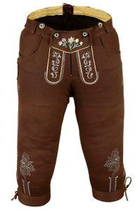 German Wear, Damen Trachten Kniebundhose Jeans Hose kostüme mit Hosenträgern Braun, Größe:46