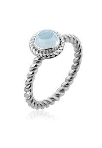 Nenalina Ring Aquamarine Geburtsstein März Boho 925 Silber 54 mm Hellblau