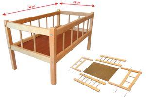 Großes Puppenbett aus Holz Naturholz - 50 cm Länge