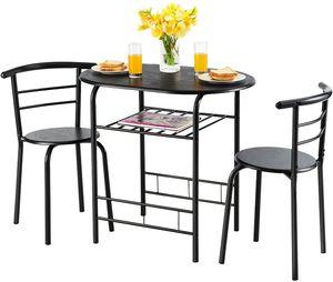 GOPLUS 3-teilige Essgruppe, Sitzgruppe mit 1 Tisch und 2 Stühlen, Esstisch Set, Balkonset aus Holz, Holztisch (Voll schwarz)