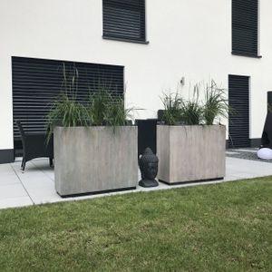 "Pflanzkübel Raumteiler Recycling Holz ""Elemento"", Antik Weiß"