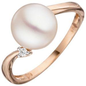 JOBO Damen Ring 52mm 585 Rotgold 1 Süßwasser Perle 1 Diamant Brillant Perlenring