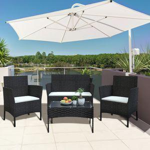 Bigzzia Rattan Gartenmöbel Set, Lounge Gartenmöbel Set, Lounge Sessel, Polyrattan Balkonmöbel Kleiner Balkon Wetterfest Sitzlounge Für 4-5 Personen