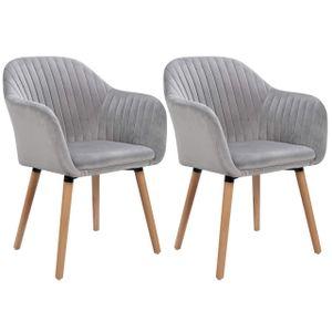WOLTU Esszimmerstühle BH95hgr-2 2er-Set Küchenstuhl Wohnzimmerstuhl Design Stuhl mit Armlehne,Samt, Massivholz, Hellgrau