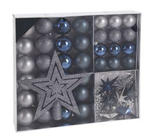Weihnachtskugeln SHATTERproof 45 PCS - blau/silber