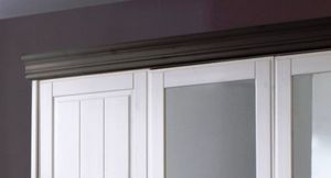 Schrank Kleiderschrank 5türig Spiegeltüren Schubladen Landhausstil Kiefer massiv, Farbe:weiß / honigfarbig