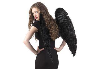 Engelsflügel aus Federn in verschiedenen Farben & Größen, Farbe wählen:schwarz 87x72cm
