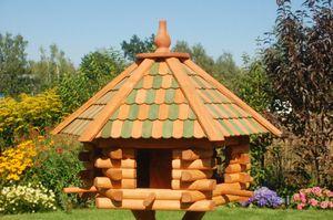 Vogelhaus XXL, Futterhaus 65 x 50 cm imprägniert, Holzschindeldach in grün-braun, V15 g XXL,