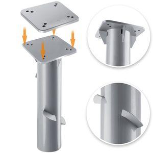 KESSER® Metall Universal Bodenplatte Sonnenschirmständer für Sonnenschirm - Ampelschirm - Kurbelschirm   Bodenanker    16 x 16 cm, Farbe:Silber