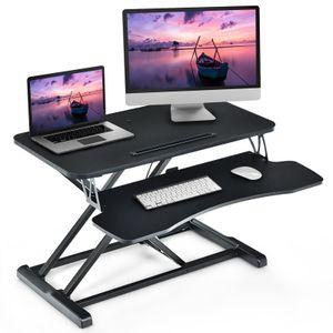 COSTWAY Sitz-Steh-Schreibtisch höhenverstellbar mit Tastaturablage und Tablet-Halter für Monitor oder Laptop Schwarz