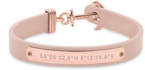 PAUL HEWITT Anker Armband Signum Koordinaten - Armband Leder Damen (Rosa) mit Anker Schmuck aus Edelstahl
