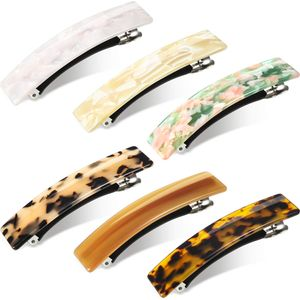 VADOOLL 6 Stücke Tortoise Shell Zellulose Acetat Haarspange für Frauen Damen, Französisch Design Rechteckige Automatische Haarspange Acryl Pferdeschwanz-Halter Spangen für mittlere und Dickes Haar