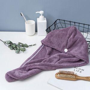 Mikrofaser Badetuch wickeln schnell trocknende Handtuch Muetze Hut weiches Wasser absorbierendes Haar Handtuch wickeln Duschhaube mit Knopf fuer Frauen Lady Girl lockiges langes nasses Haar