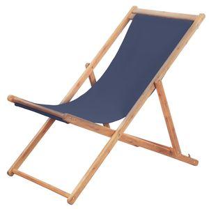 Hochwertigen Klappbarer Strandstuhl/Relaxliege/Strandliege/Gartenliege Stoff und Holzrahmen Blau #DE7405