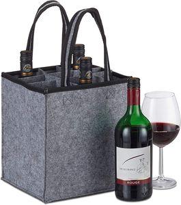 Flaschentasche,6 Flaschen, Flaschenträger für Wein, Bier, Leergut Sammelbehälter, HxBxT 24 x 24 x 16 cm, Grau, 1 Stück