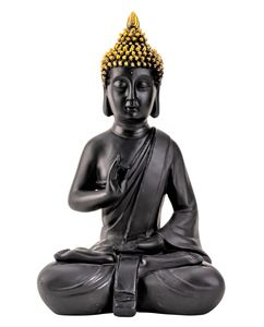 Buddha Figur 38 cm Schwarz Gold Lotussitz Feng Shui