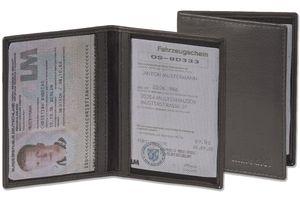 Rimbaldi® Lederetui für den alten Personalausweis und den KFZ-Schein aus weichem, naturbelassenem Rindsleder in Schwarz