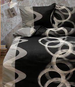 Bettwäsche 200x200 + 80x80 cm Baumwolle Renforce schwarz weiß kreis, 3-teilig