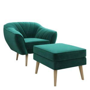 Relaxsessel mit Hocker VIKI Grün Skandinavisch Ohrensessel Fernsehsessell