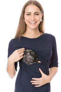 GFWL Umstandskleid Stillkleid #3in1 Schwangerschaftskleid Stillen GF2413XA in Marine mit türkisen Punkten, Größe Damen EU:36 Small