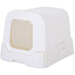 PawHut Katzentoilette mit ausziehbarer Schale, Katzenklo mit Schaufel, Tragbar, PP, Weiß, 54 x 42 x 41 cm
