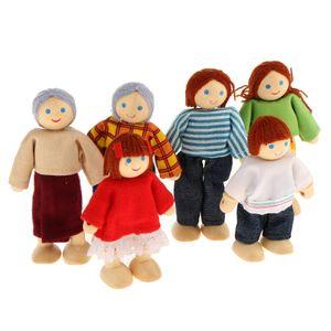 Biegepuppen Familie Puppenfamilien Puppenhaus Holzpuppen für Kinder Spiel Haus Geschenk