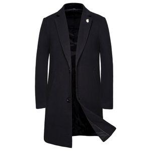 Lässige Trenchcoat-Mode für Herren Langer, schmaler Mantel Jacke Outwear Größe:XXL,Farbe:Schwarz